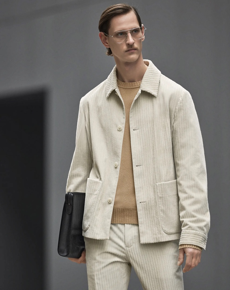 Rogier Bosschaart embraces casual tailoring in a corduroy look from Zegna's Made to Measure collection.