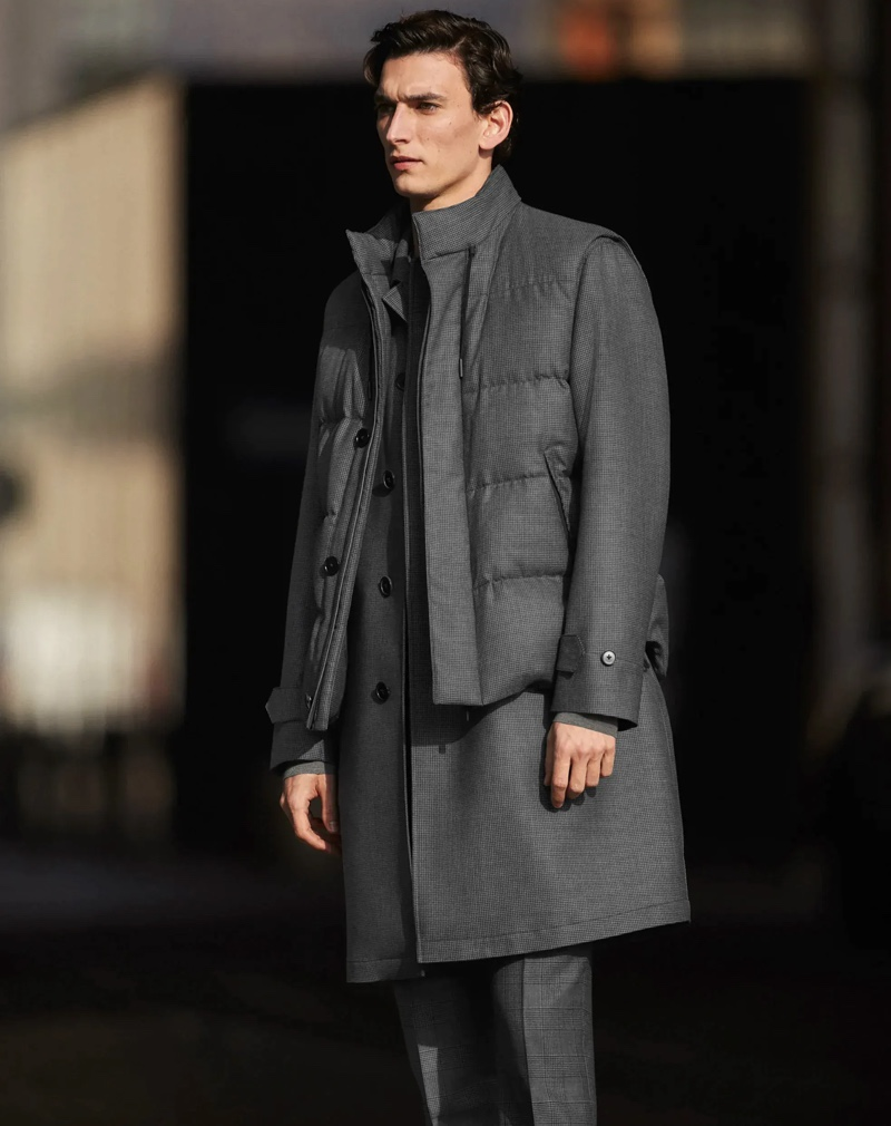 Thibaud Charon dons modern tailoring in layered outerwear from Zegna Made to Measure.