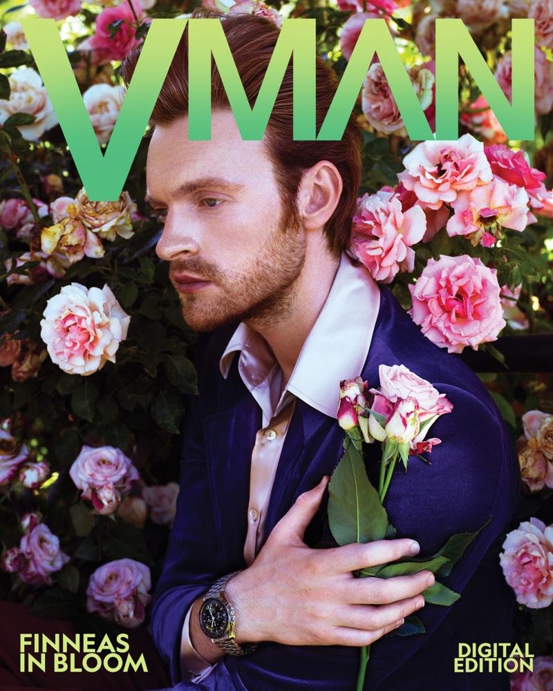 Music artist Finneas appears on a digital cover for VMAN.