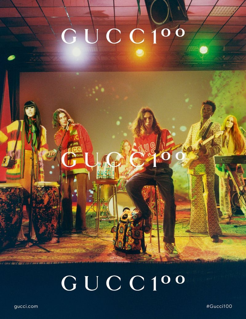 J Moon, Pleun Keijsers, Kevin Demaj, Ibrahima Diaw, and Panni Eberhardt tap into a psychedelic energy for the Gucci 100 campaign.