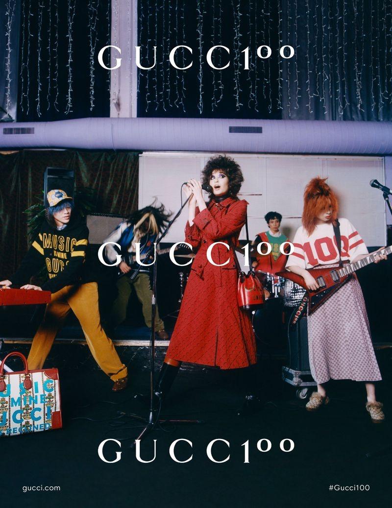 Akito Mizutani, Hanaka Hori, Tsukasa Kakiudo, and Natsumi Sekine front a Japanese punk rock band for the Gucci 100 campaign.
