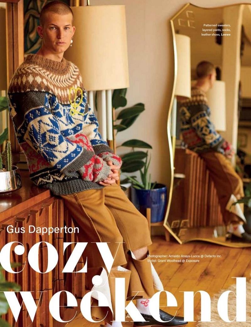Gus Dapperton wears a fall look from Loewe for Vogue Man Hong Kong.