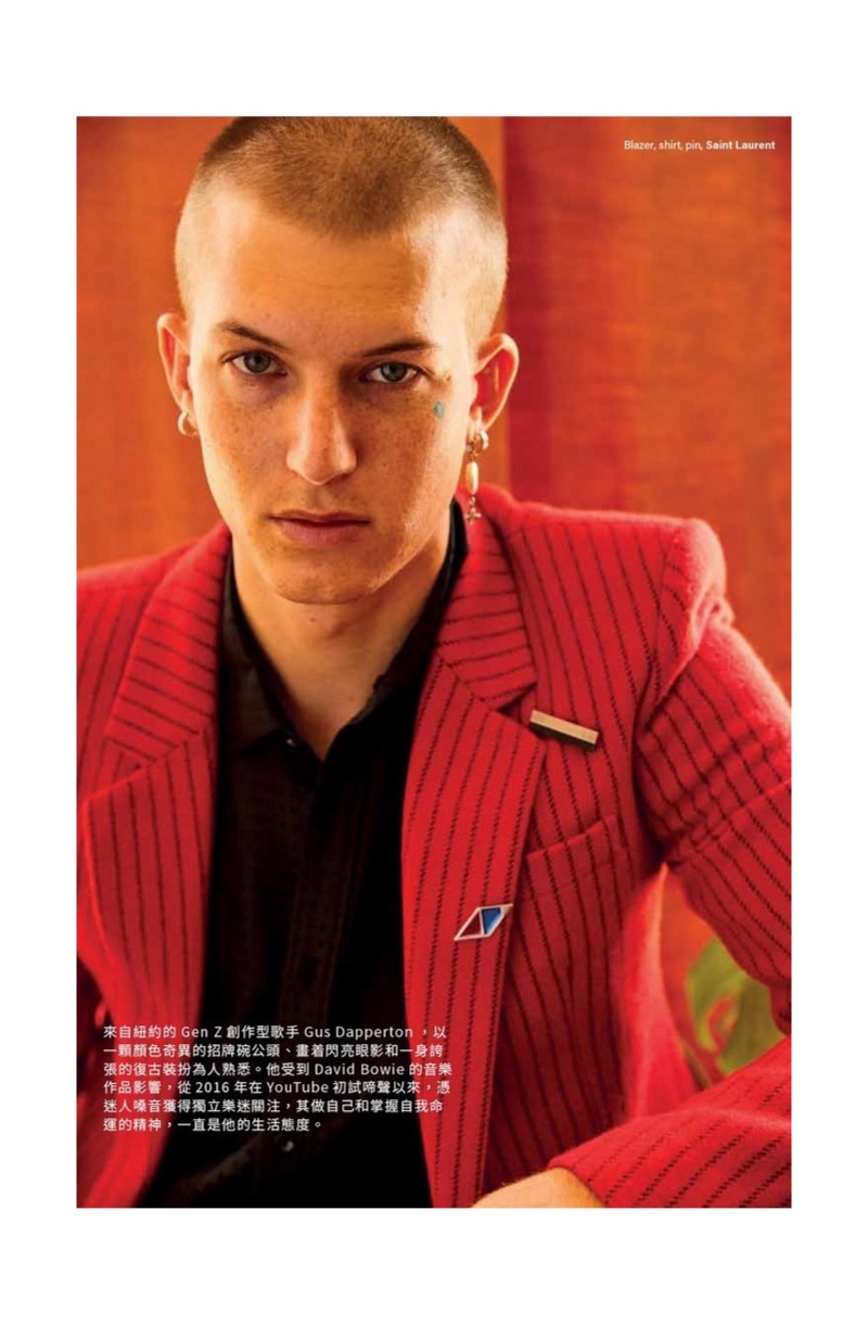 Making a statement in red, Gus Dapperton dons a pinstripe blazer and more from Saint Laurent for Vogue Man Hong Kong.