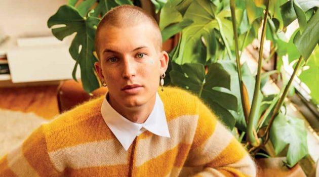 Arnaldo Anaya-Lucca photographs Gus Dapperton in a yellow striped sweater by Fendi for Vogue Man Hong Kong.