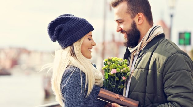 Happy Couple Flowers Gift Winter Style