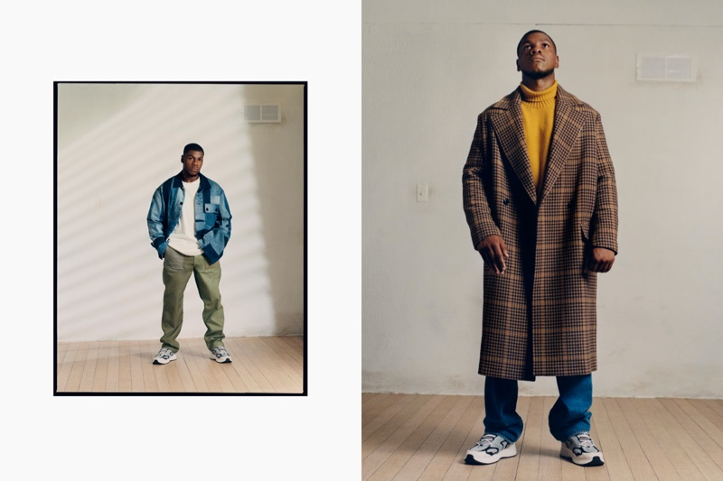 In front and center, John Boyega tries his hand at modeling, showcasing must-have styles from his H&M collection.