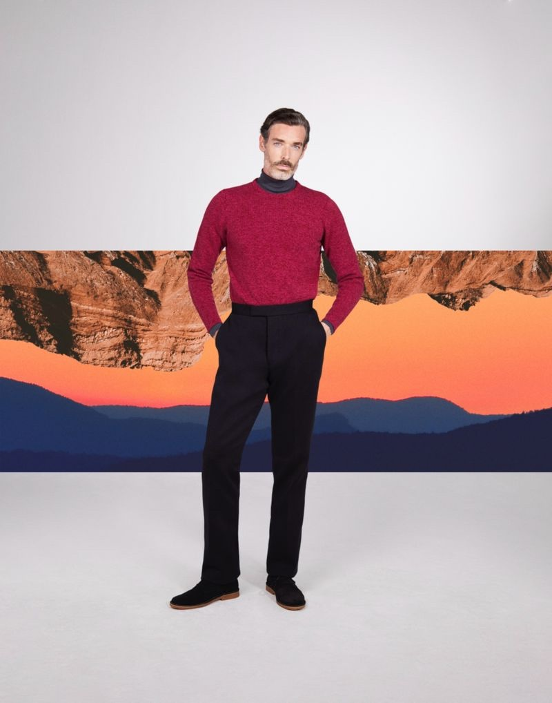 Inspiring in fall layers, Richard Biedul models a turtleneck with a crewneck sweater by John Smedley.