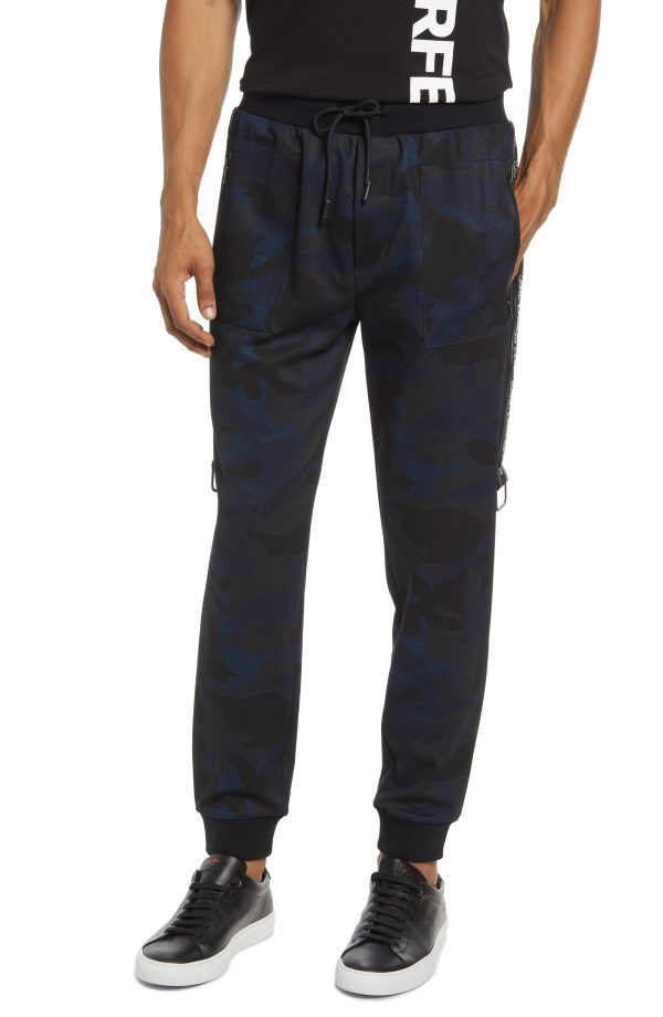 Karl Lagerfeld Paris Camo Joggers, Size Small in Navy at Nordstrom