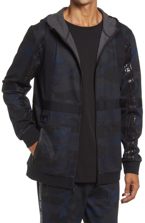 Karl Lagerfeld Paris Camo Track Hoodie, Size Small in Navy at Nordstrom