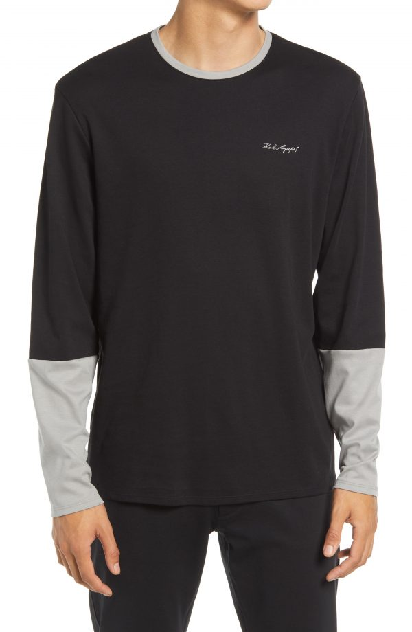 Karl Lagerfeld Paris Contrast Long Sleeve T-Shirt, Size Small in Black/Grey at Nordstrom