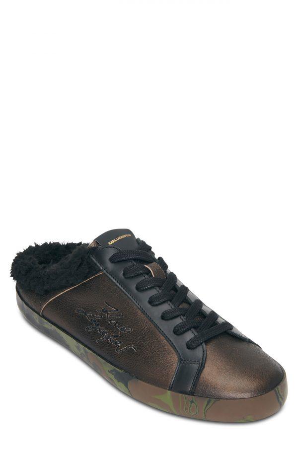 Karl Lagerfeld Paris Faux Fur Sneaker, Size 8 in Gold/Black at Nordstrom