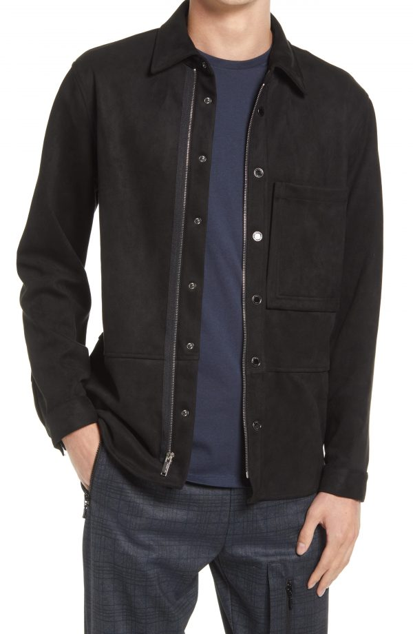 Karl Lagerfeld Paris Faux Suede Shirt Jacket, Size Small in Black at Nordstrom
