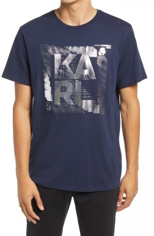 Karl Lagerfeld Paris Foil Graphic Tee, Size Small in Navy at Nordstrom