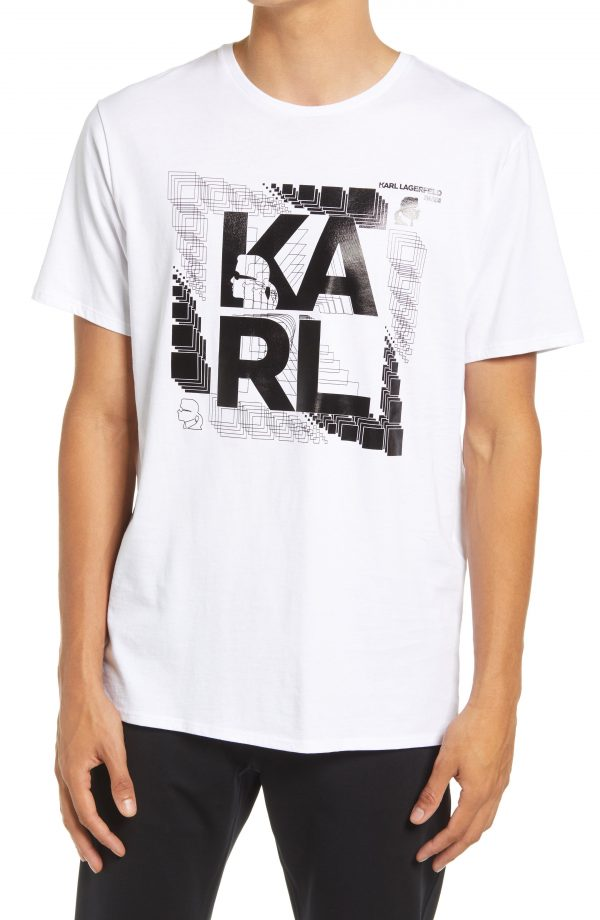 Karl Lagerfeld Paris Foil Graphic Tee, Size Small in White at Nordstrom