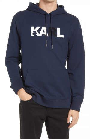 Karl Lagerfeld Paris Graphic Hoodie, Size Small in Navy at Nordstrom
