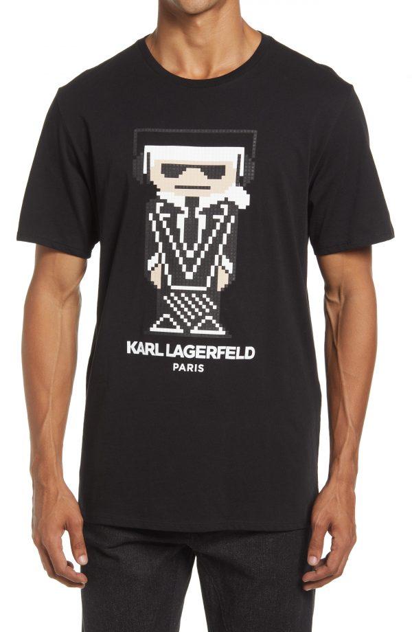 Karl Lagerfeld Paris Headphones Graphic Tee, Size Small Regular in Black at Nordstrom