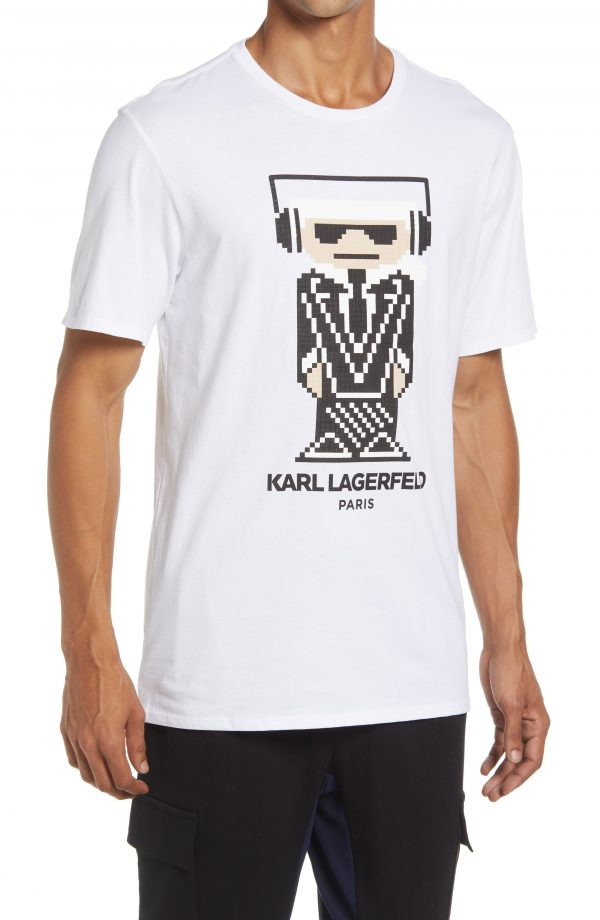 Karl Lagerfeld Paris Headphones Graphic Tee, Size Small Regular in White at Nordstrom