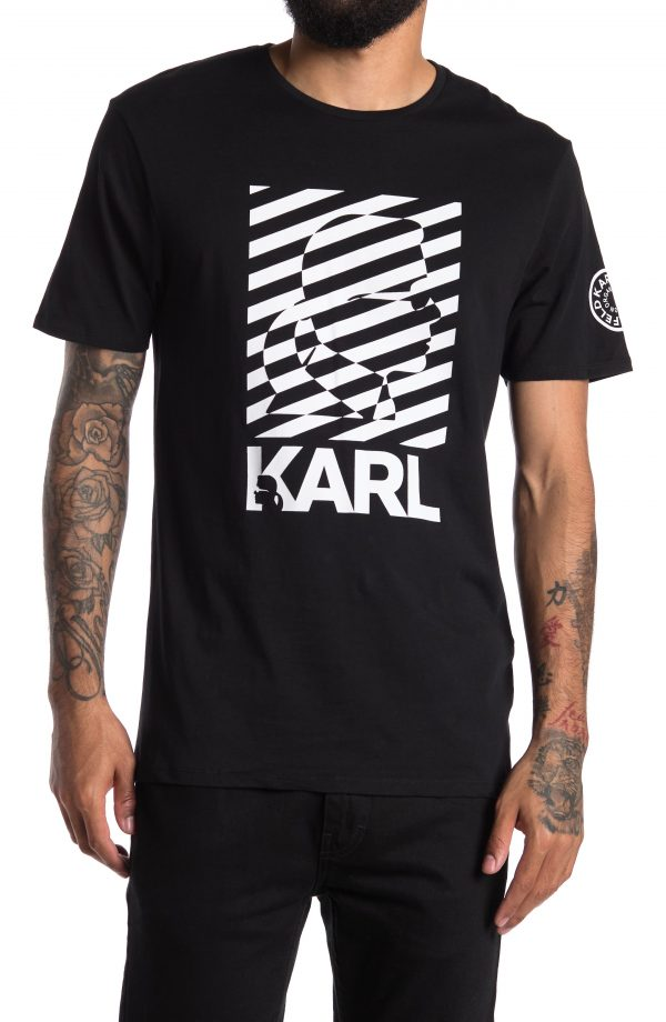 Karl Lagerfeld Paris KARL STRIPE TEE, Size Xx-Large in Black at Nordstrom