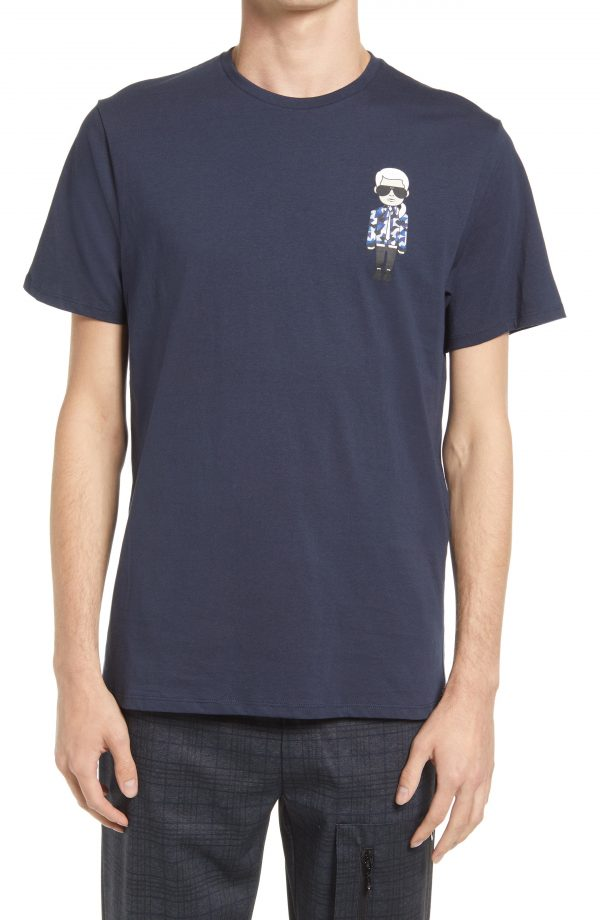 Karl Lagerfeld Paris Karl Character Camo Tee, Size Large in Navy at Nordstrom
