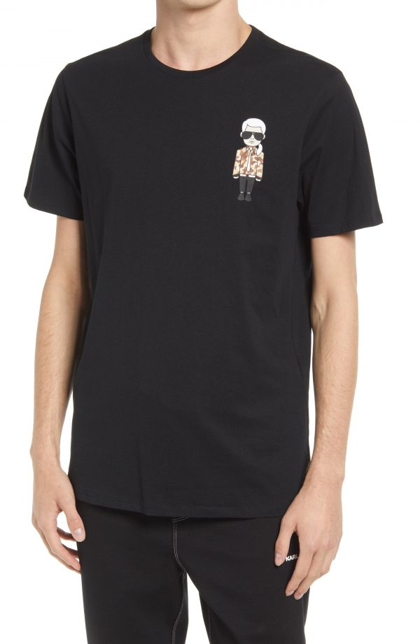 Karl Lagerfeld Paris Karl Character Camo Tee, Size Small in Black at Nordstrom