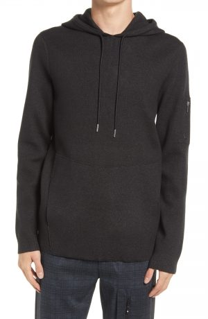 Karl Lagerfeld Paris Knit Hoodie, Size Small in Charcoal at Nordstrom