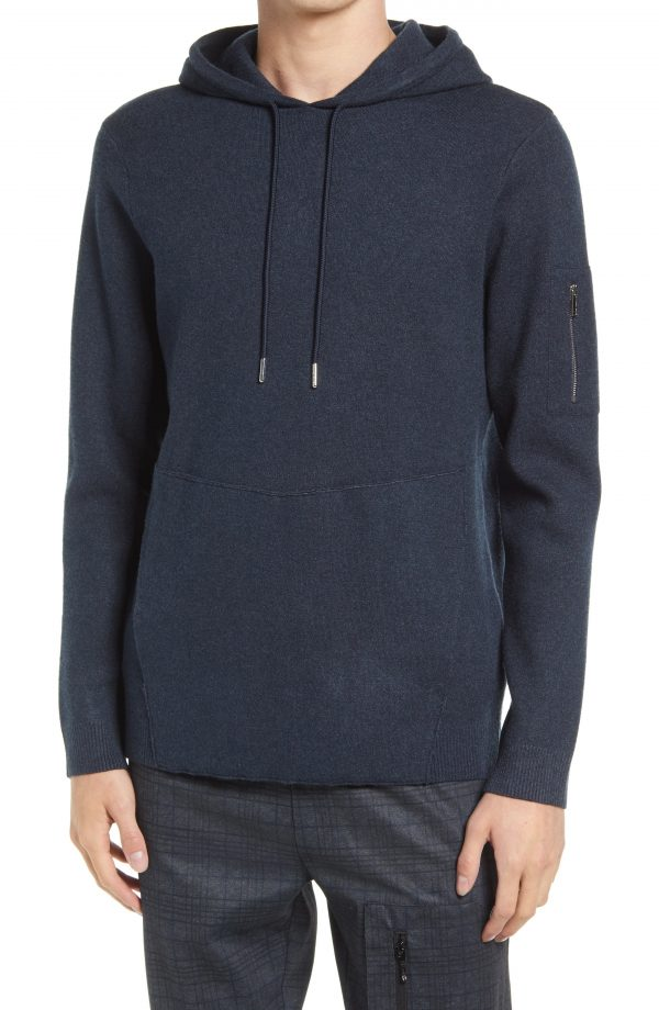 Karl Lagerfeld Paris Knit Hoodie, Size Small in Navy at Nordstrom