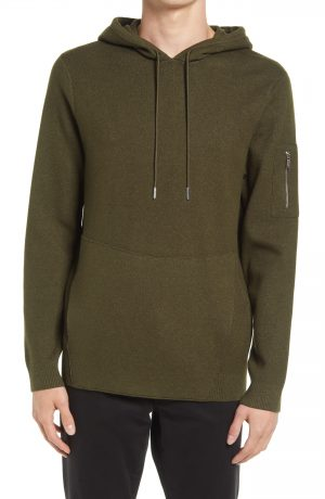 Karl Lagerfeld Paris Knit Hoodie, Size Small in Olive at Nordstrom