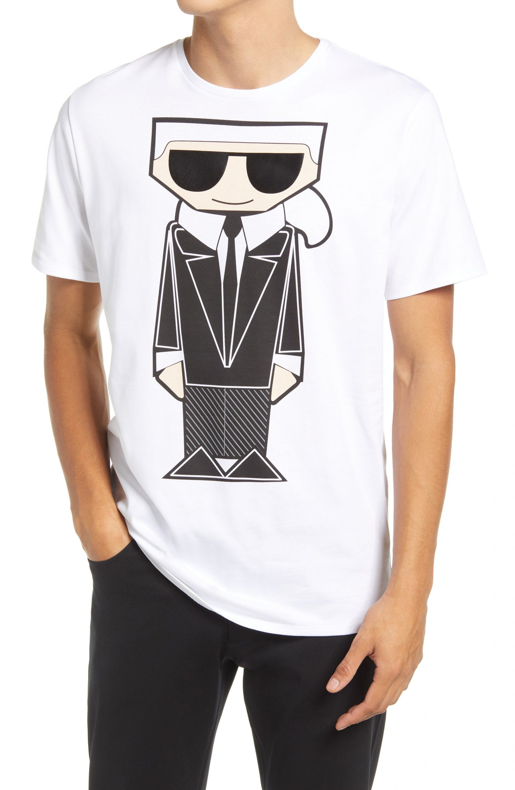 Karl Lagerfeld Paris Kocktail Karl Graphic Tee, Size Small in White at Nordstrom