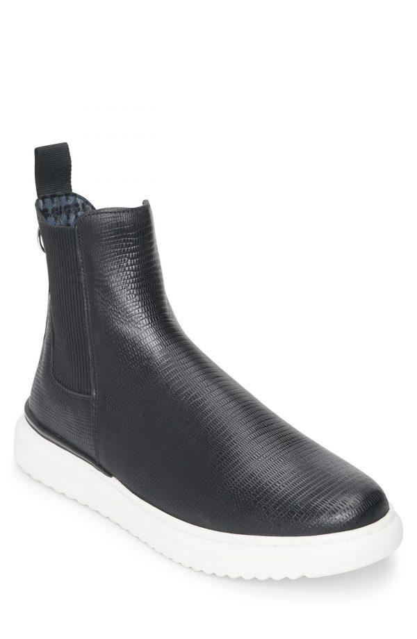 Karl Lagerfeld Paris Lizard Embossed Chelsea Boot, Size 7 in Black at Nordstrom