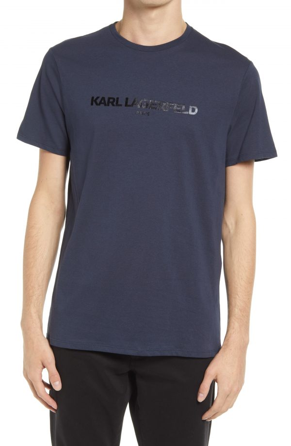 Karl Lagerfeld Paris Logo Graphic Tee, Size Small in Navy at Nordstrom