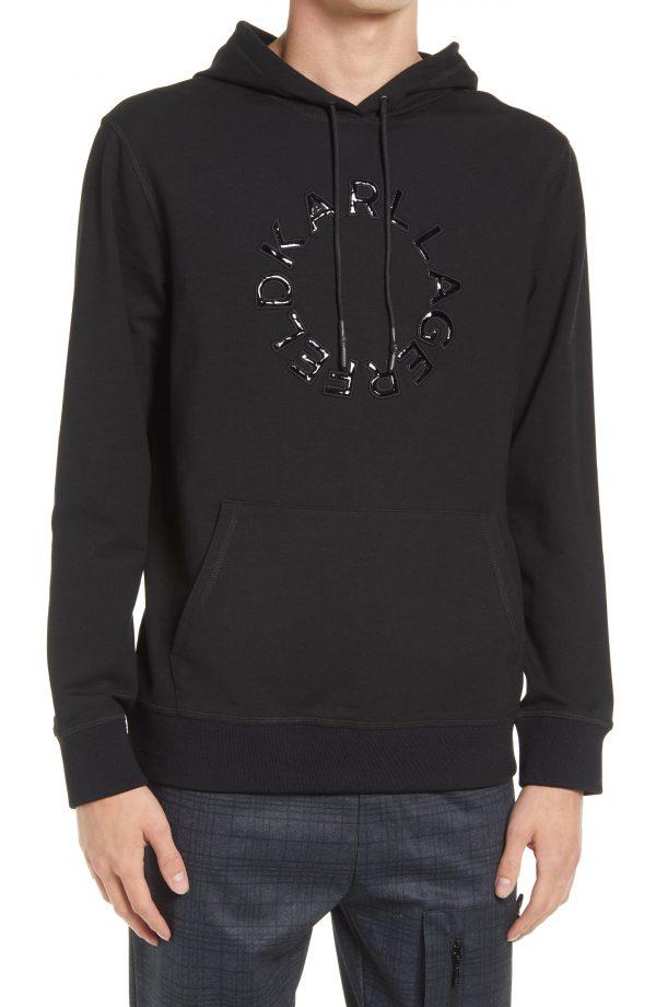 Karl Lagerfeld Paris Men's Circle Logo Hoodie, Size Small in Black at Nordstrom