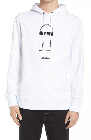 Karl Lagerfeld Paris Men's Headphones Karl Hoodie, Size Small in White at Nordstrom