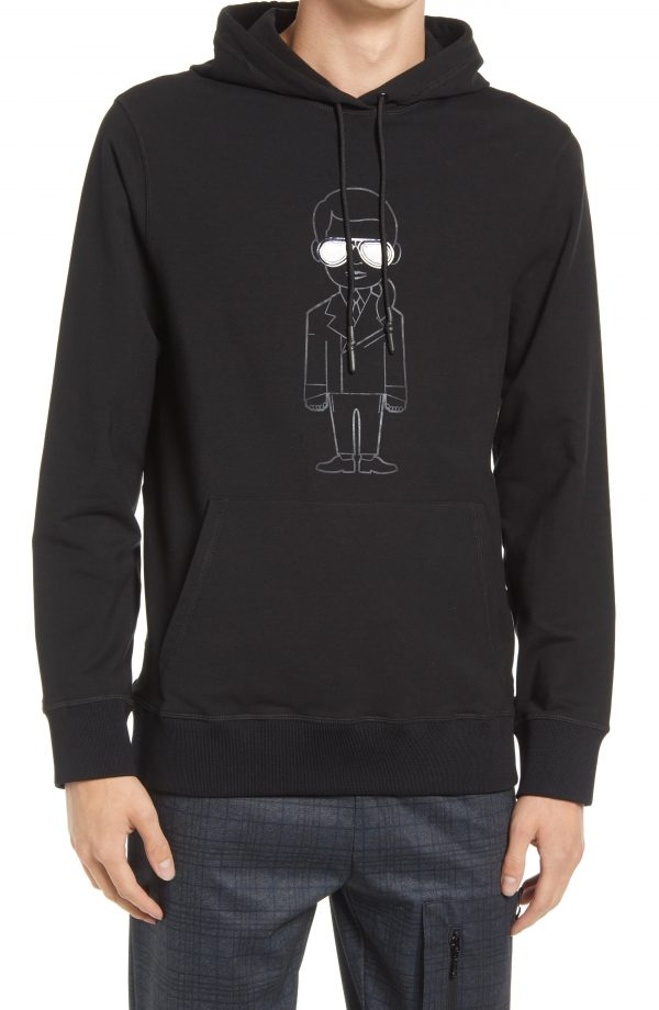 Karl Lagerfeld Paris Men's Karl With Colorful Sunglasses Hoodie, Size Small in Black at Nordstrom