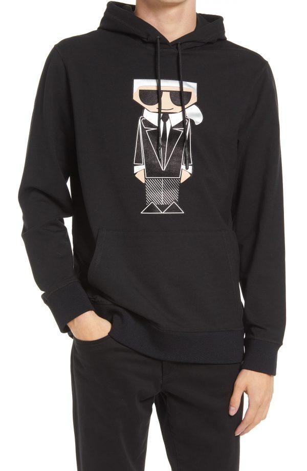 Karl Lagerfeld Paris Men's Kocktail Karl Hoodie, Size Small in Black at Nordstrom