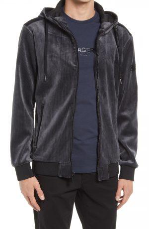 Karl Lagerfeld Paris Men's Velvet Zip Hoodie, Size Small in Black at Nordstrom