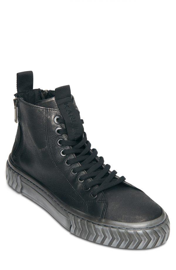 Karl Lagerfeld Paris Metallic Leather High Top Sneaker, Size 12 in Black at Nordstrom
