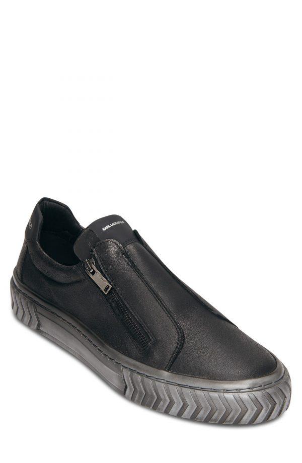 Karl Lagerfeld Paris Metallic Leather Sneaker, Size 8 in Black at Nordstrom