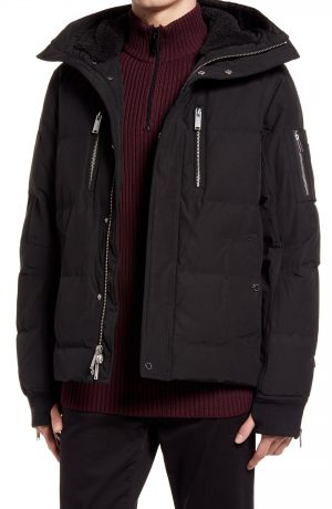Karl Lagerfeld Paris Mid Length Down & Feather Jacket with Faux Shearling Lining, Size Medium in Black at Nordstrom