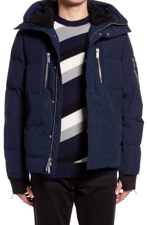 Karl Lagerfeld Paris Mid Length Down & Feather Jacket with Faux Shearling Lining, Size Small in Navy at Nordstrom