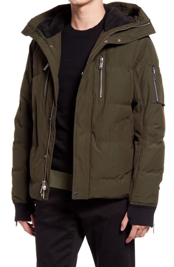 Karl Lagerfeld Paris Mid Length Down & Feather Jacket with Faux Shearling Lining, Size Small in Olive at Nordstrom