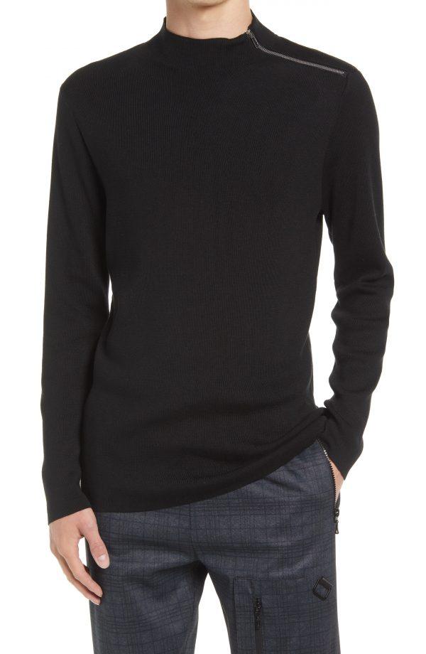 Karl Lagerfeld Paris Mock Neck Shoulder Zip Sweater, Size Medium in Black at Nordstrom
