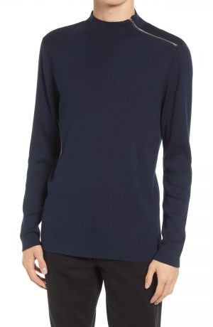 Karl Lagerfeld Paris Mock Neck Shoulder Zip Sweater, Size Small in Navy at Nordstrom
