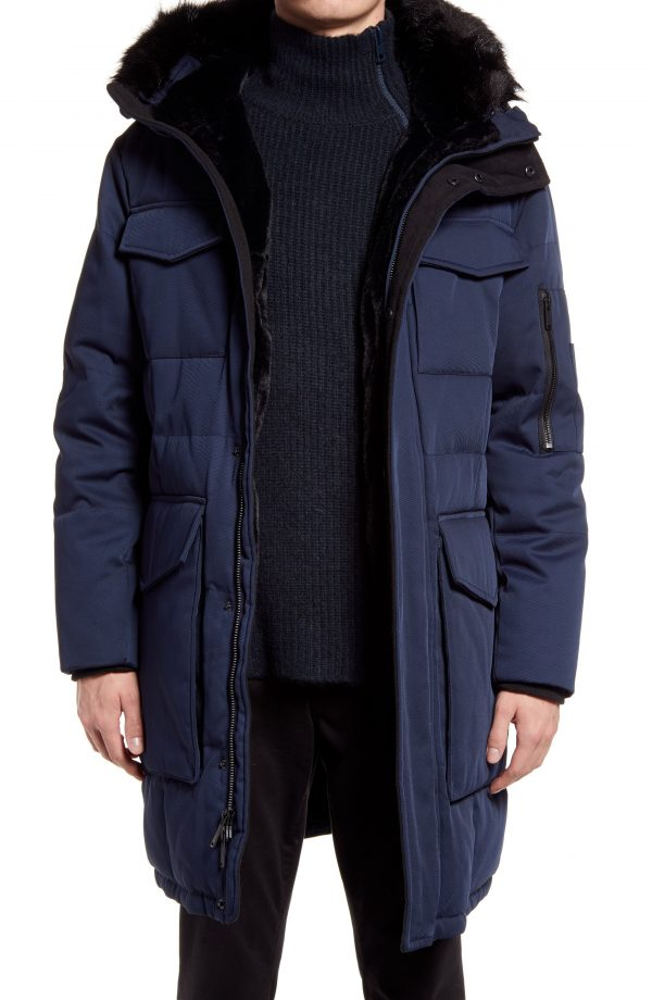 Karl Lagerfeld Paris Plaid Down & Feather Parka, Size Small in Navy at Nordstrom
