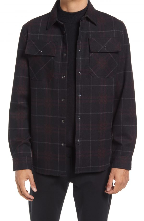 Karl Lagerfeld Paris Plaid Snap Front Shirt, Size Medium in Cabernet at Nordstrom