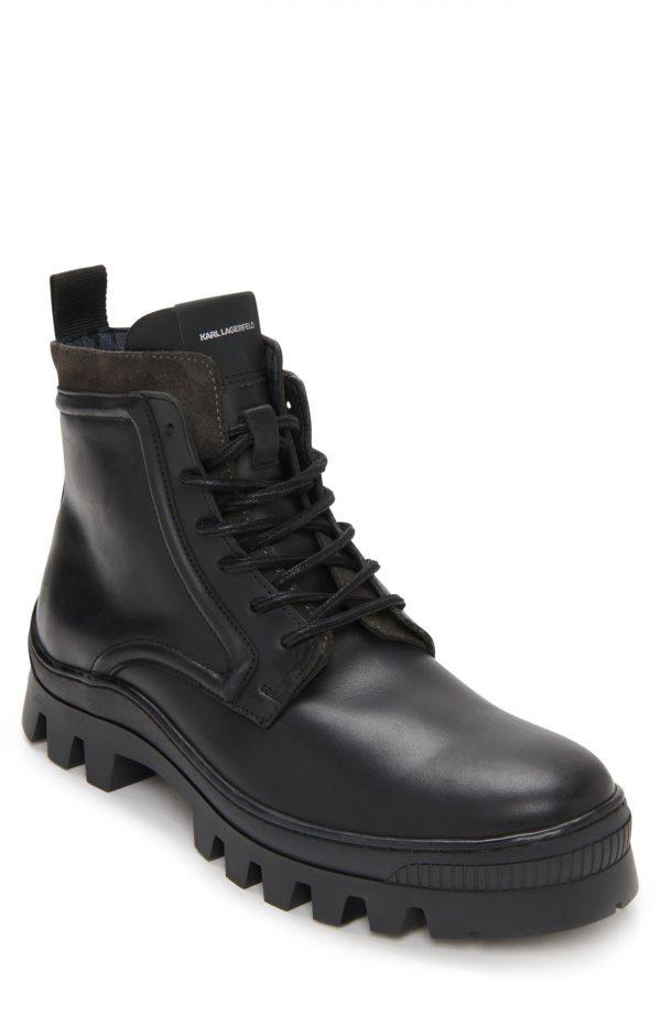 Karl Lagerfeld Paris Plain Toe Boot, Size 8 in Black at Nordstrom