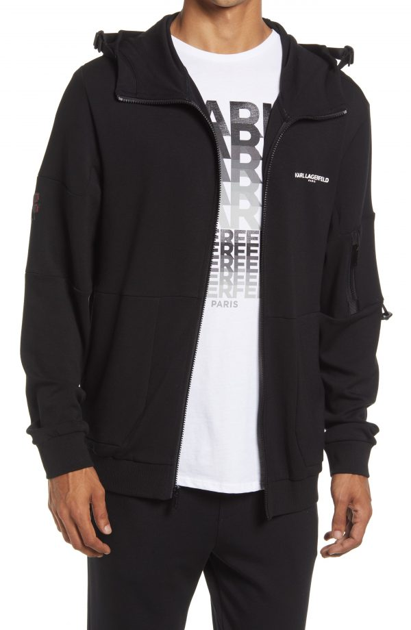 Karl Lagerfeld Paris Reflective Logo Track Jacket, Size Medium in Black at Nordstrom