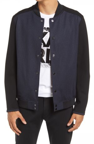 Karl Lagerfeld Paris Snap Front Ren Bomber, Size Small in Navy/Black at Nordstrom