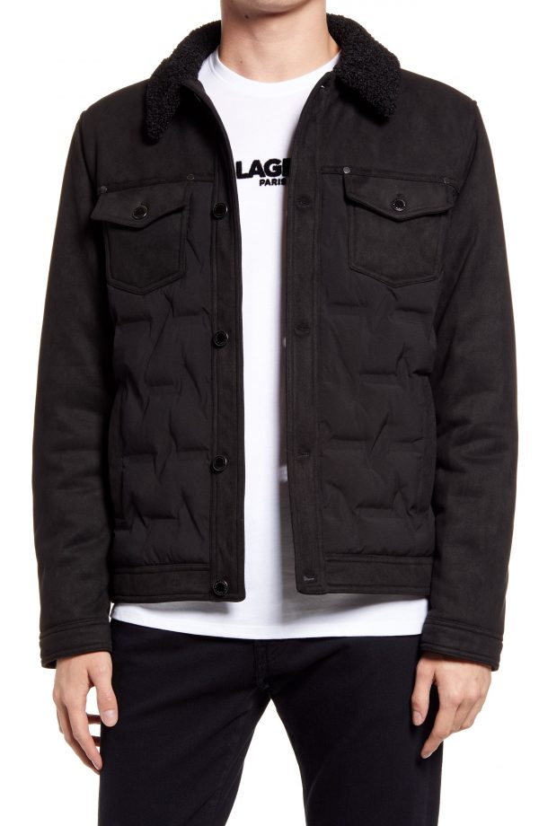 Karl Lagerfeld Paris Trucker Jacket, Size Small in Black at Nordstrom