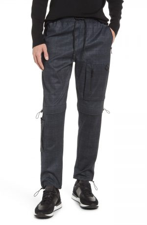 Karl Lagerfeld Paris Utility Plaid Pants, Size Small in Grey at Nordstrom