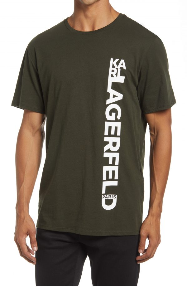 Karl Lagerfeld Paris Vertical Logo Cotton Graphic Tee, Size Large Regular in Military Green at Nordstrom